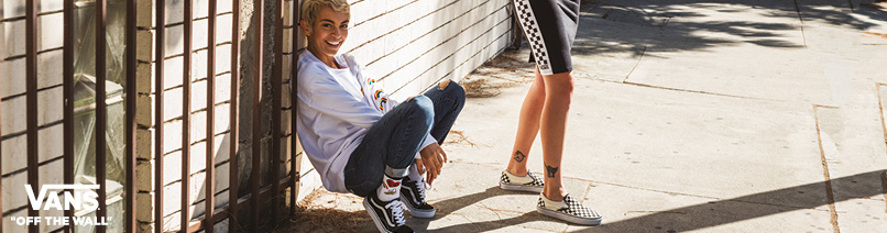 vans slip on carreaux blanc
